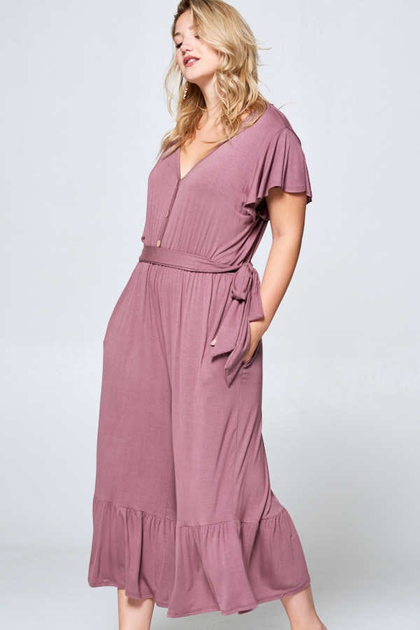 Buy Flutter Sleeve Wide Leg Cropped Jumpsuit Mauve online at Southern Fashion Boutique Bliss