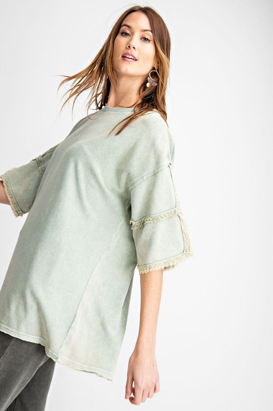Buy Half Sleeve French Terry Knit Top Sage online at Southern Fashion Boutique Bliss