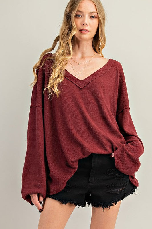 Buy Raw Edge Detail V-Neck Waffle Top Wine online at Southern Fashion Boutique Bliss