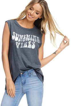 Buy Sleeveless Graphic Top Sunshine Vibes Charcoal online at Southern Fashion Boutique Bliss