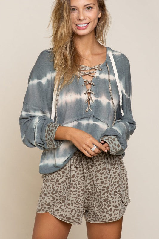 Buy Tie Dye Stripe Relaxed Fit Hoodie Deep Taupe online at Southern Fashion Boutique Bliss