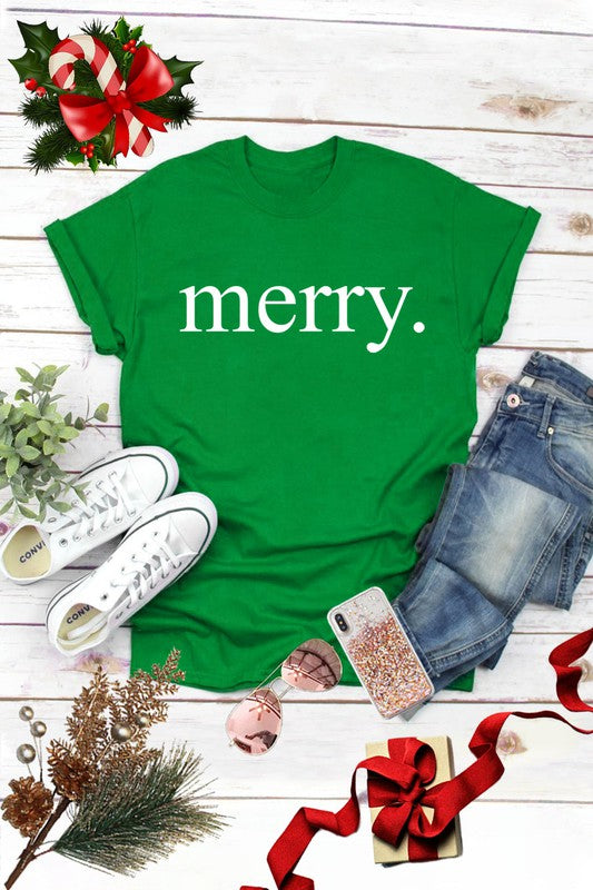 Merry Graphic Christmas Tee Green