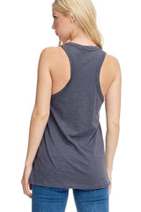 Buy Racer Back Smile Graphic Top Charcoal online at Southern Fashion Boutique Bliss