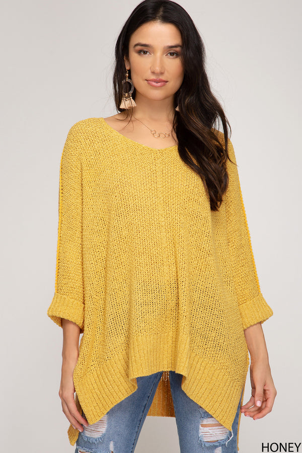 Hi-Lo Sweater Top 3/4 Sleeves Folded Cuffs Honey