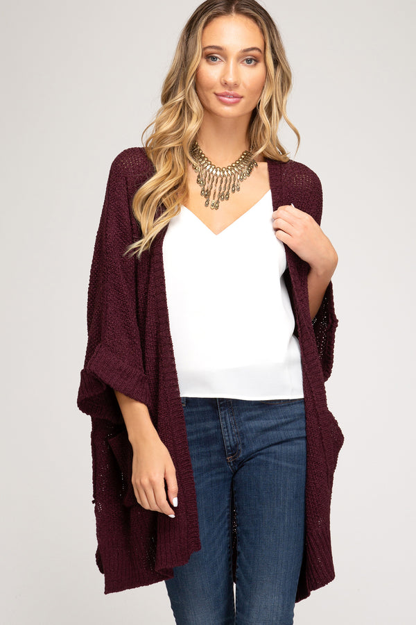 Half Sleeve Open Front Sweater Cardigan Eggplant