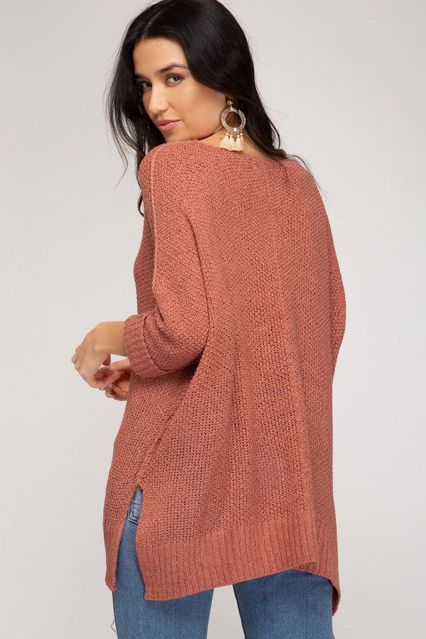 Buy Hi-Lo Sweater Top 3/4 Sleeves Folded Cuffs Coral online at Southern Fashion Boutique Bliss