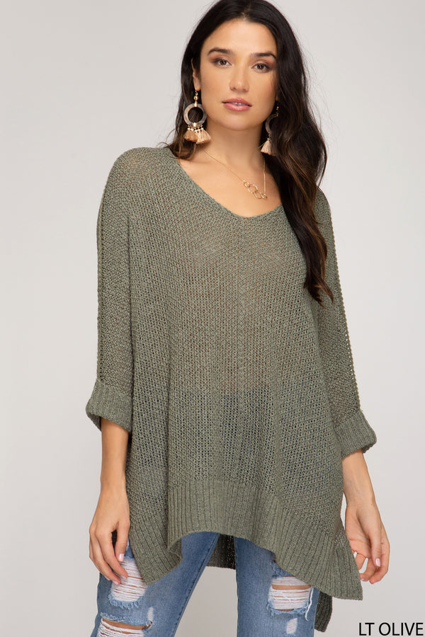 Buy Hi-Lo Sweater Top 3/4 Sleeves Folded Cuffs Olive online at Southern Fashion Boutique Bliss