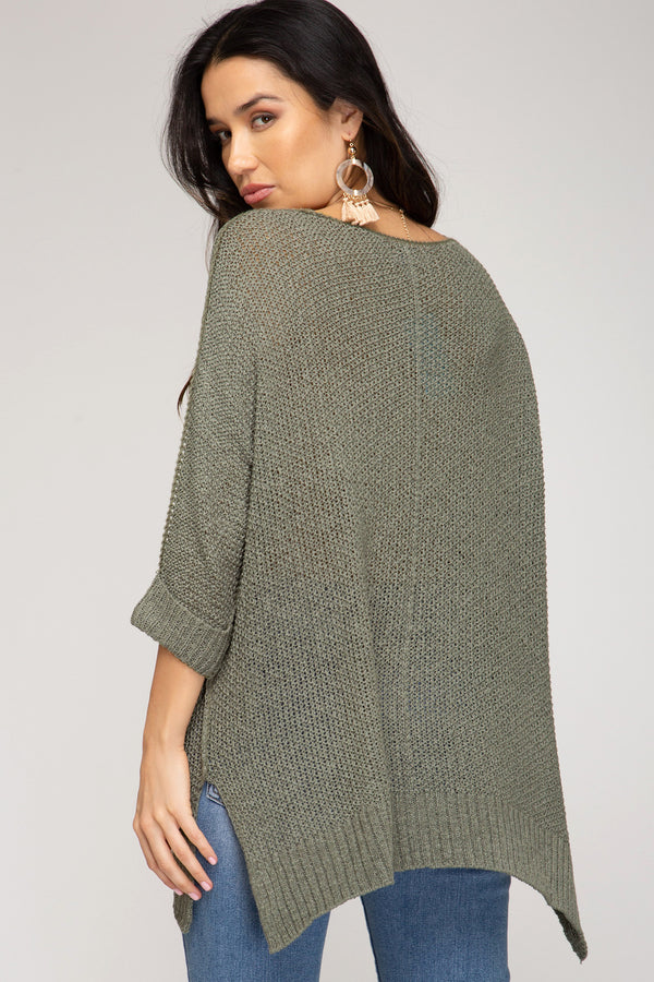 Hi-Lo Sweater Top 3/4 Sleeves Folded Cuffs Olive