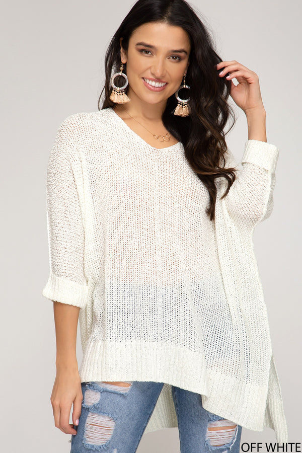 Buy Hi-Lo Sweater Top 3/4 Sleeves Folded Cuffs White online at Southern Fashion Boutique Bliss