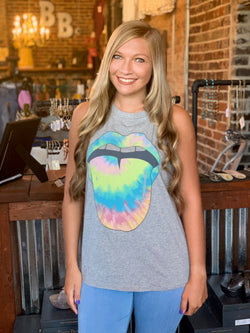 Buy Sleeveless Tie Dye Lips Print Top Grey online at Southern Fashion Boutique Bliss