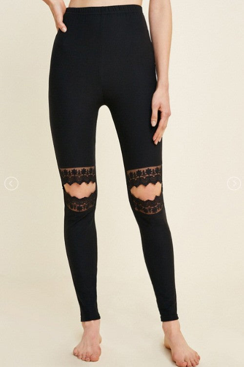 Buy Lace Cutout Brushed Leggings Black online at Southern Fashion Boutique Bliss