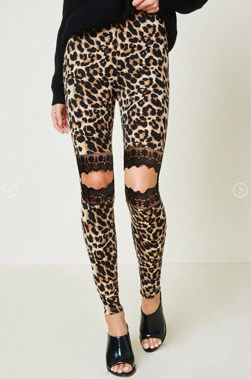 Buy Leopard Lace Cutout Leggings Brown online at Southern Fashion Boutique Bliss