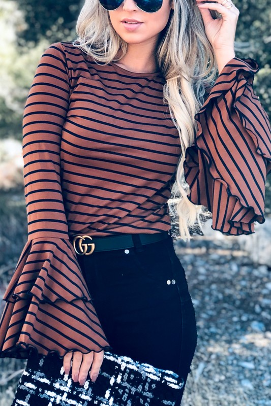 Double Bell Sleeve Casual Top Brown