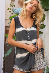 Buy Tie Dye Stripe Sleeveless Top Black online at Southern Fashion Boutique Bliss