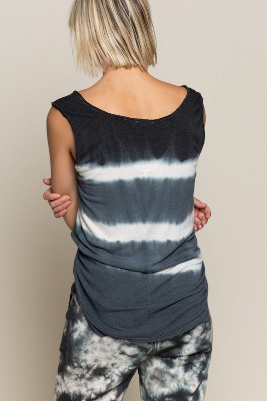 Tie Dye Stripe Sleeveless Top Black