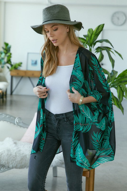 Palm Leaf Cardigan Black