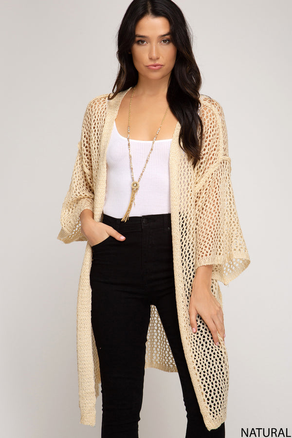 Fishnet Knit Sweater Cardigan Natural