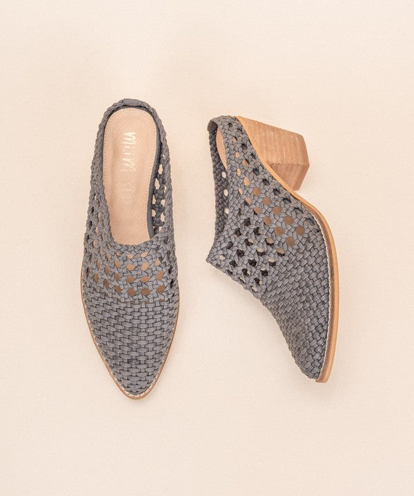 Hand Braided Woven Mules Grey