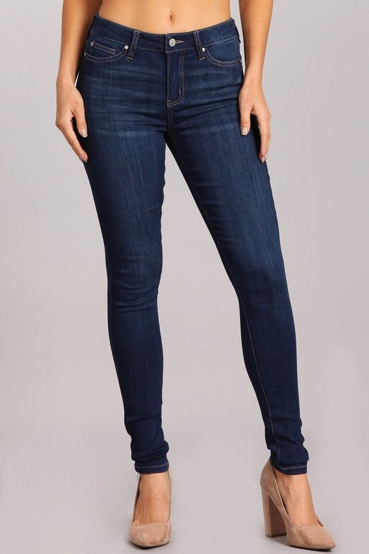 Stretch Denim Skinny Jeans Dark Denim