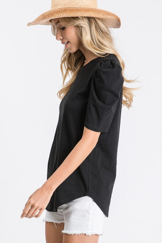 Solid Puff-Sleeve Top Black