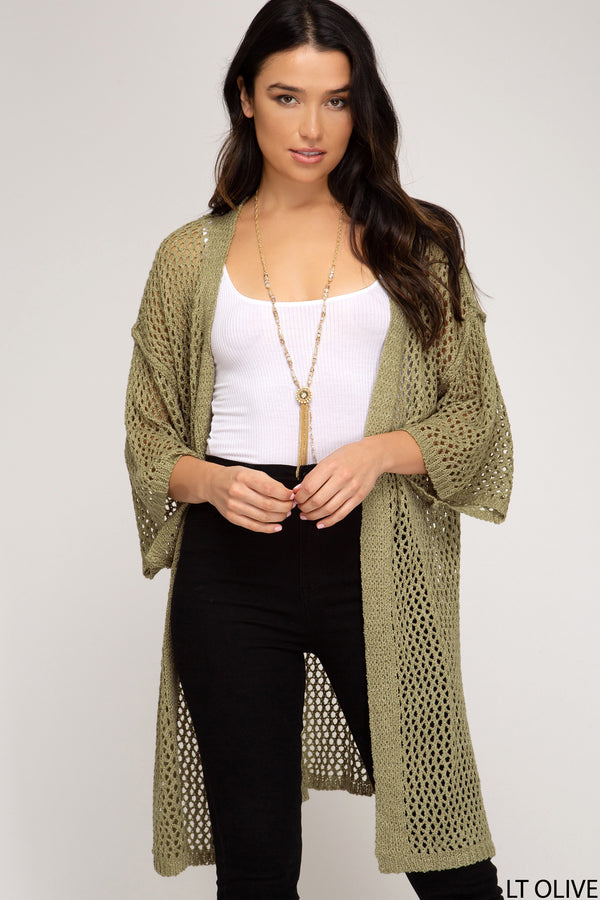 Fishnet Knit Sweater Cardigan Olive