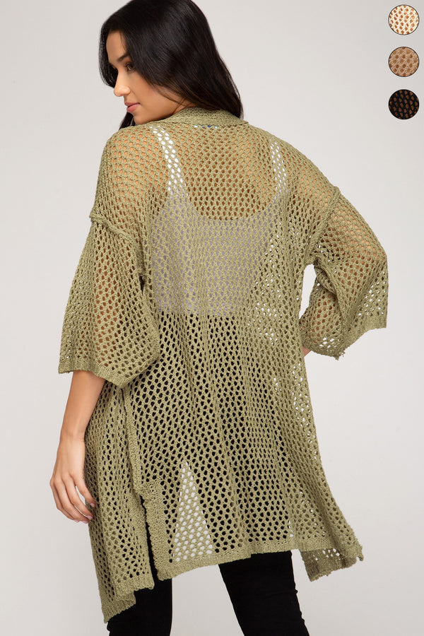 Buy Fishnet Knit Sweater Cardigan Olive online at Southern Fashion Boutique Bliss