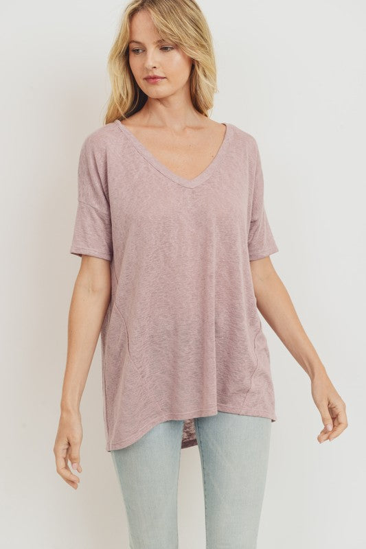 Basic V Neck Short Sleeve Knit Top Mauve