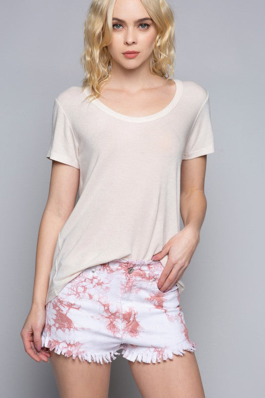 Round Neck Open Back Top Cream
