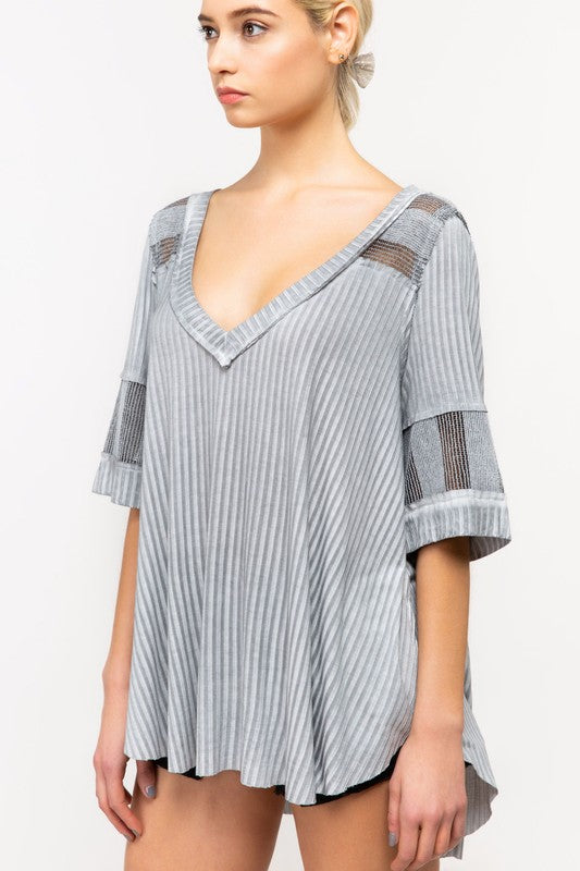 Buy V-Neck Ribbed Knit Top Grey online at Southern Fashion Boutique Bliss