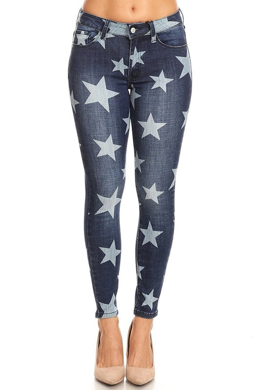 Star Pattern Stretch Denim Jeans Navy - Athens Georgia Women's Fashion Boutique