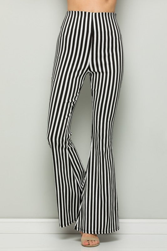 High Waisted Striped Flare Pants Black/White - Athens Georgia Women's Fashion Boutique