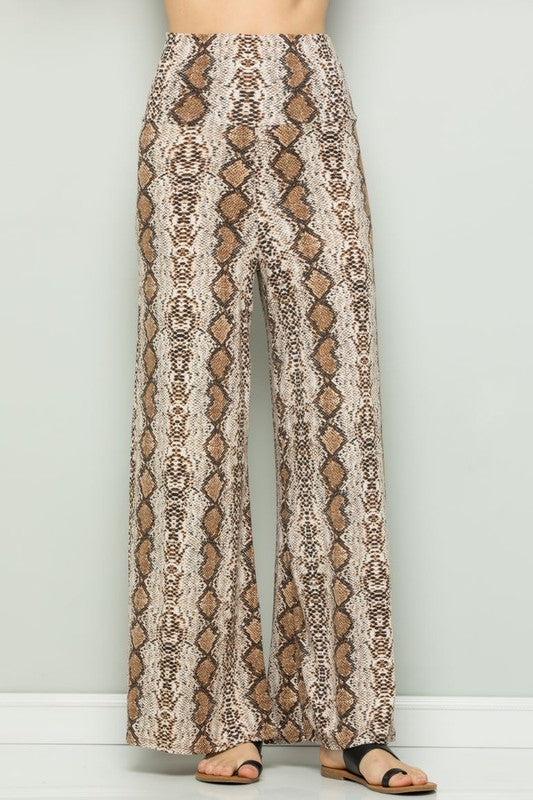 Snake Skin Print Palazzo Pants - Athens Georgia Women's Fashion Boutique