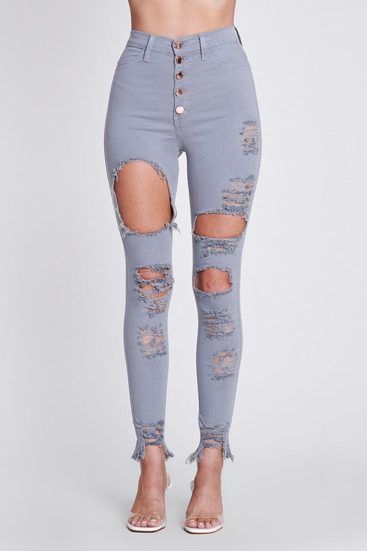 Distressed Five Button Skinny Jeans Grey