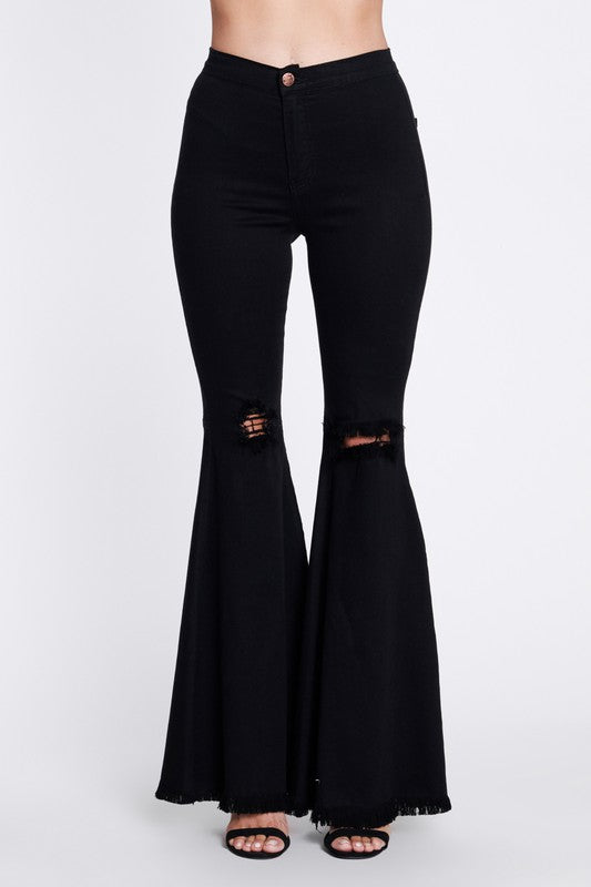 Buy High Rise Flare Distressed Jeans Black online at Southern Fashion Boutique Bliss
