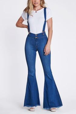 Buy Suspender Flare Jeans Medium Denim online at Southern Fashion Boutique Bliss