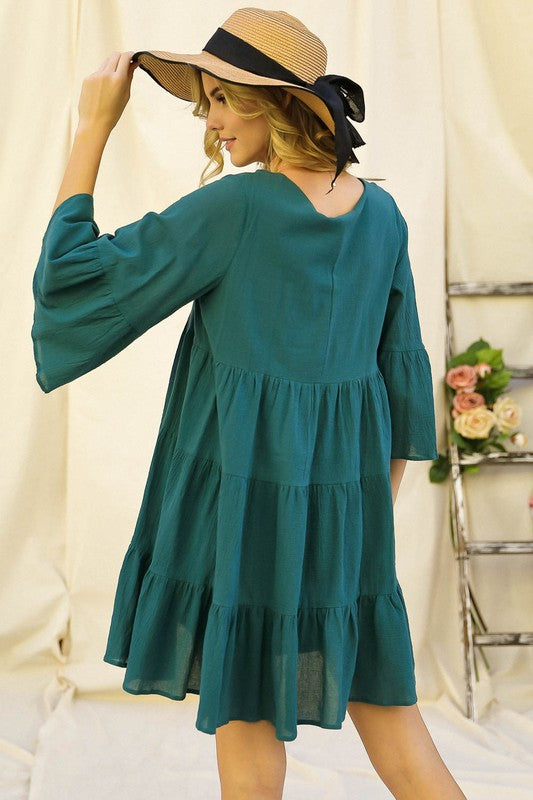 Solid V-Neck Bell Sleeve Bell Dress Teal