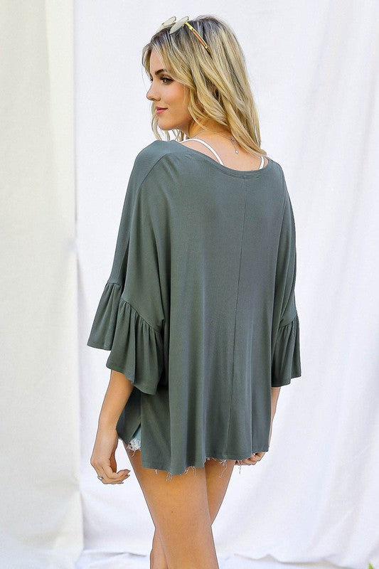 Ruffle Hem 3/4 Sleeve V-Neck Top Olive