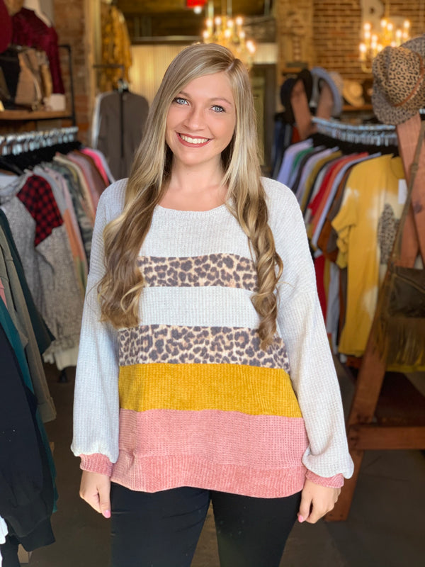 Color Block Animal Print Top Oatmeal