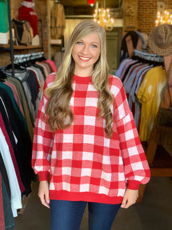 Buy Round Neck Plaid Oversized Sweater Red online at Southern Fashion Boutique Bliss