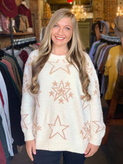 Buy Multi Star Sweater Top Cream online at Southern Fashion Boutique Bliss