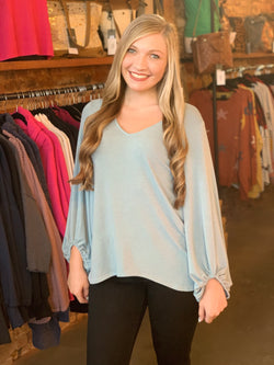 Buy Bijoux Sleeve French Terry Top Dusty Blue online at Southern Fashion Boutique Bliss