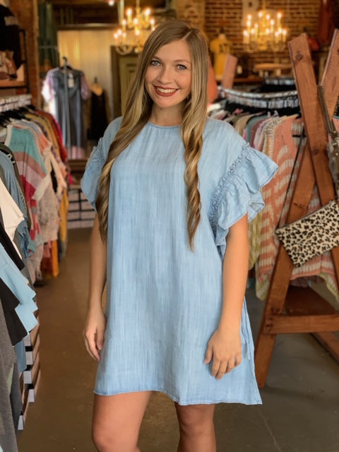 Ruffled Sleeve Loose Fit Dress Denim