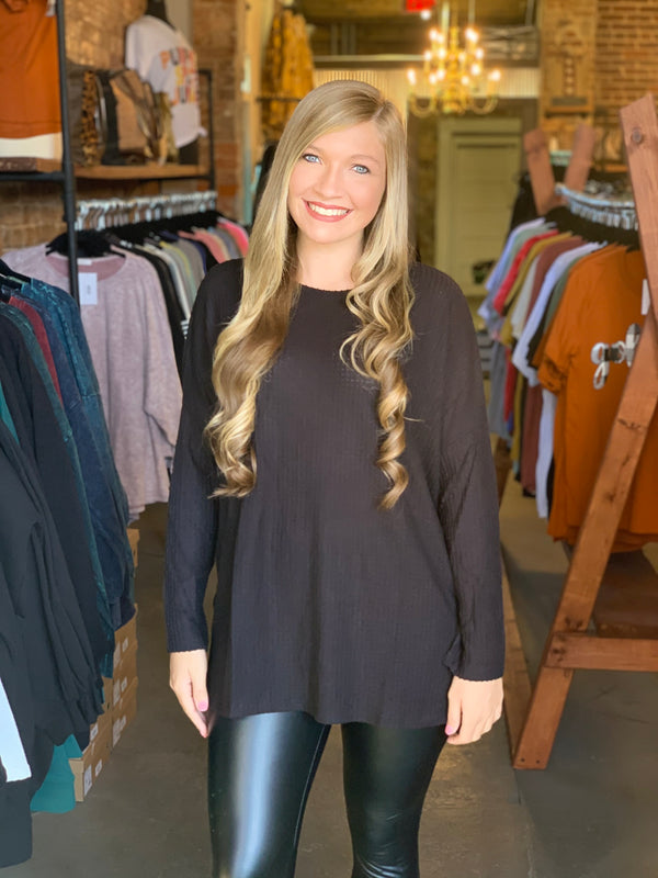 Buy Waffle Knit Hi-Low Sweater Black online at Southern Fashion Boutique Bliss