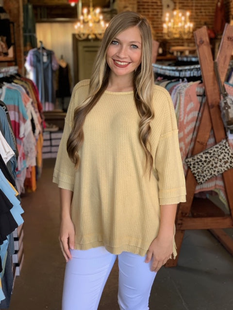 Thermal Washed 3/4 Sleeve Top Mustard
