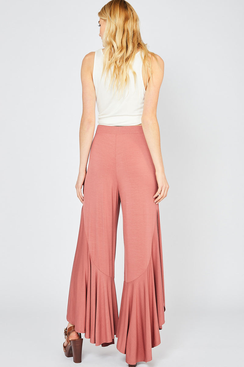 Buy High Waisted Flare Ruffle Detail Pants Mauve online at Southern Fashion Boutique Bliss