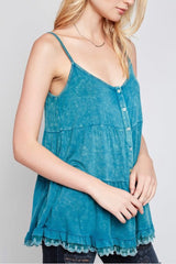 Buy Washed Button Front Tank Top Teal Green online at Southern Fashion Boutique Bliss