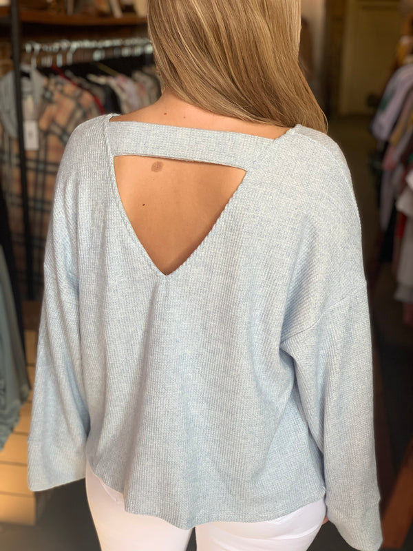 V-Neck Soft Fabric Top Blue