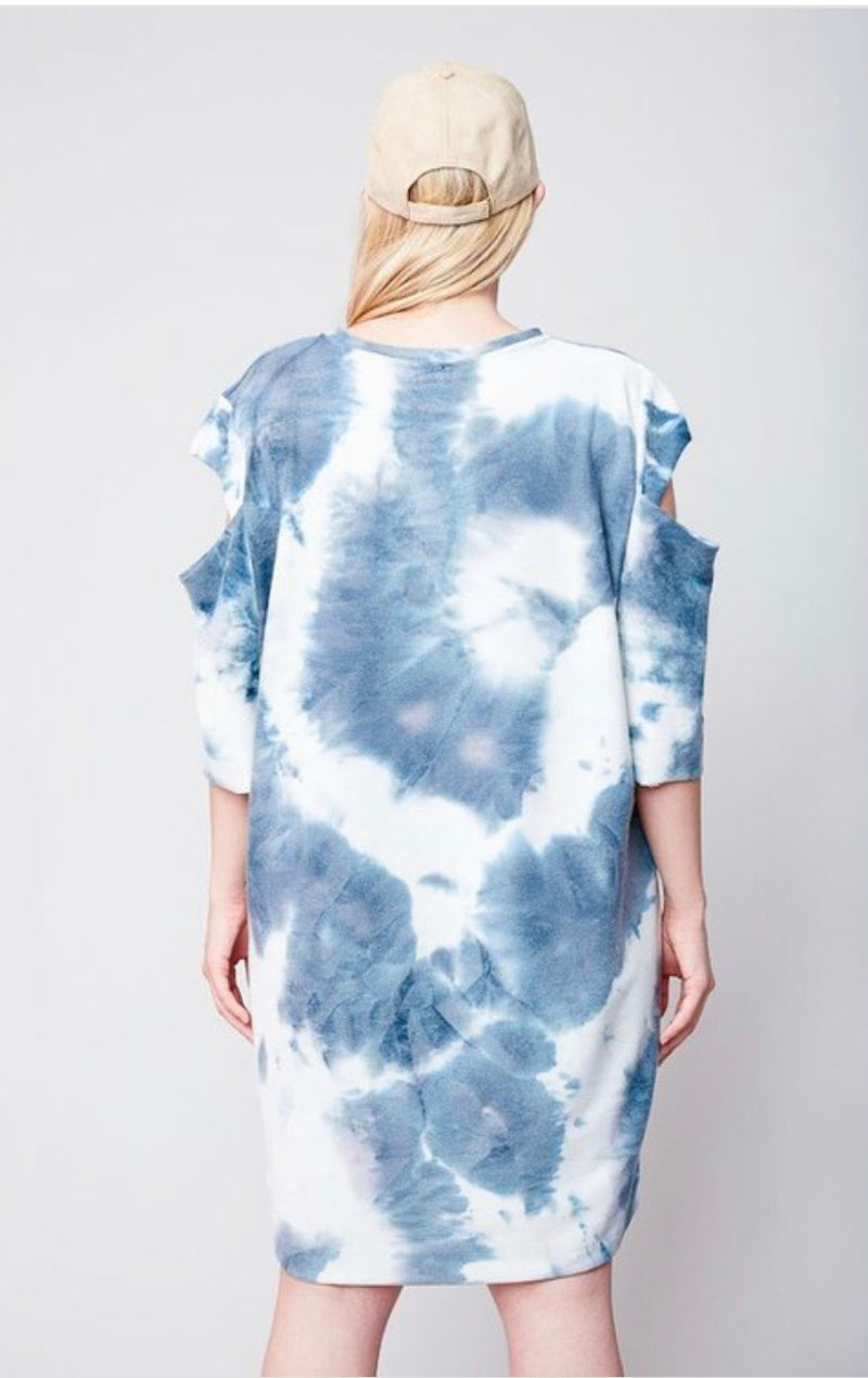 Buy Tie Dye French Terry Dress Navy online at Southern Fashion Boutique Bliss