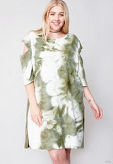 Buy Tie Dye French Terry Dress Olive online at Southern Fashion Boutique Bliss