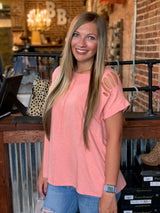 Buy Roll Up Sleeve Cotton Slub Knit Top Coral online at Southern Fashion Boutique Bliss